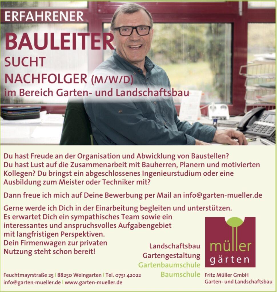 Erfahrener Bauleiter sucht Nachfolger (m/w/d) im Bereich Garten- und Landschaftsbau